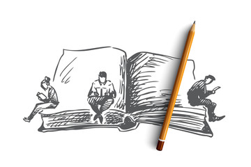 Book, world, day, reading concept. Hand drawn isolated vector.