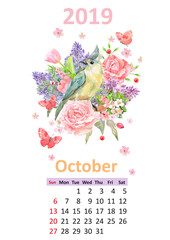 romantic floral banner with bird. Calendar for 2019, october