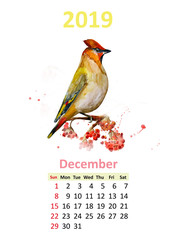 romantic floral banner with bird. Calendar for 2019, december
