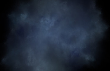 Abstract colorful blue fractal pattern on black background. Fantasy fractal texture. Digital art. 3D rendering. Computer generated image.