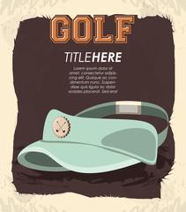 golf club label with hat