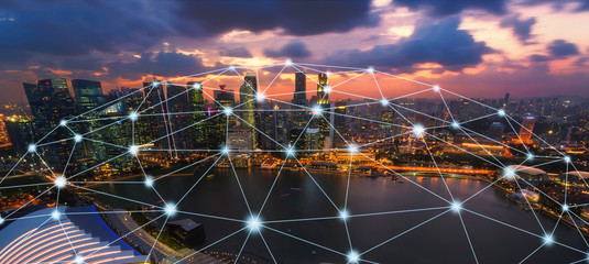 Wall Mural - Network and Connection city