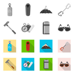 Isolated object of alpinism and peak icon. Set of alpinism and camp stock vector illustration.