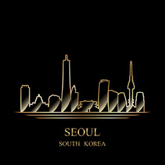 Gold silhouette of Seoul on black background