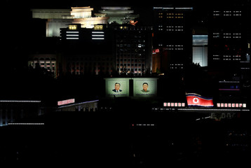 Main Kim Il Sung Square and surrounding buildings are light up on the occasion of 70th anniversary of North Korea's foundation in Pyongyang