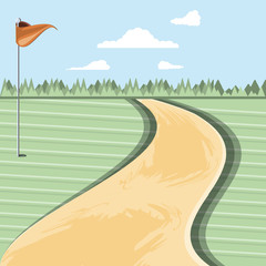 golf curse with way scene