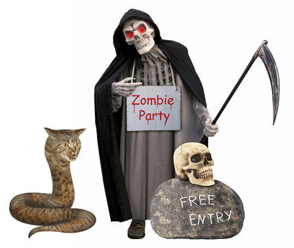 """The cat snake is next to the grim reaper with a sign around his neck """" Zombie Party """". White background."""