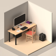 Stylised 3D Render of a Creative Workspace