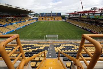 A general view shows the Dorados stadium as Argentine soccer legend Diego Maradona was named head coach of Mexican second division team Dorados in Culiacan