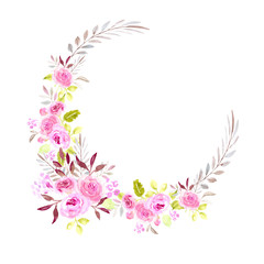 Floral wreath, watercolor illustration