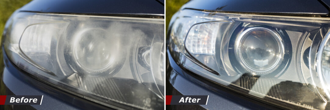 Polishing the optics of car headlamps. Effect Before and after the effect of polishing