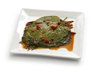 perilla leaves pickled in soy sauce, korean food, kkaennip jangajji