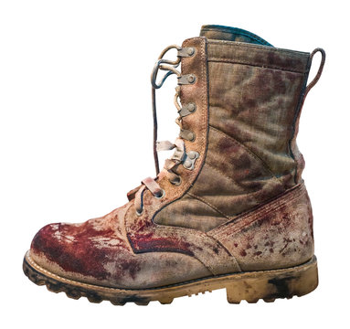 Isolated Bloody Military Boot