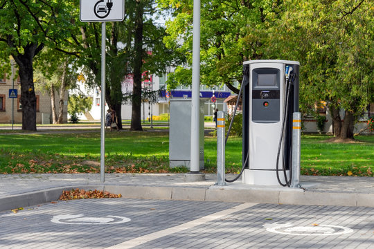 Electric car charging station for two vehicles