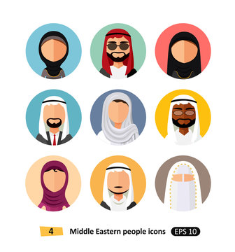 Middle eastern people avatar set vector flat icons arab users