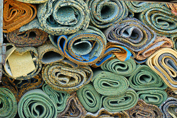 disposed rolls of carpet padding