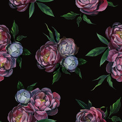 Seamless pattern of different peony flowers and leaf on black background