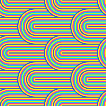 Abstract vector seamless op art pattern. Colorful pop art, graphic ornament. Optical illusion 70s