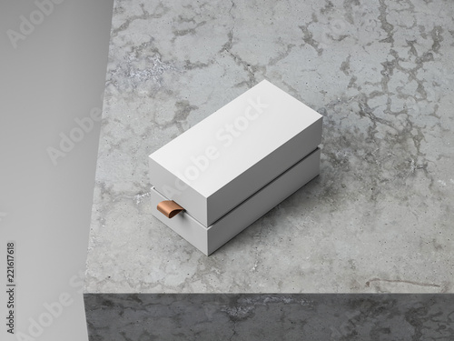 8b007386ffce White rectangular gift Box packaging Mockup with golden hack on concrete  cube