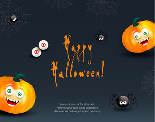 Halloween holiday design template with copy-space for text. Happy orange pumpkins with funny monster face on dark night background with cute spiders, cobweb and eyes.