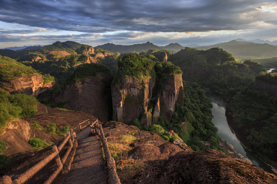 Wuyishan, Fujian Province China. Wuyi Mountain Scenery, Chinese National Park. China Danxia Exotic Cliff Scenery. UNESCO World Heritage, Daoism and Lingnan Culture. Heavenly Tour Peak. Chinese Pagoda