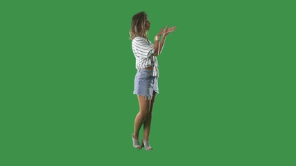 9ad7a3e8ecd 0:08 Full body chrome key green screen of business woman presenting and  advertising