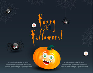 Halloween holiday design template for card, flyer or banner with copy-space for text. Happy orange pumpkin with funny monster face on dark night background with cute spiders, cobweb and eyes.