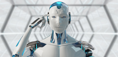 White male cyborg thinking and touching his head 3D rendering