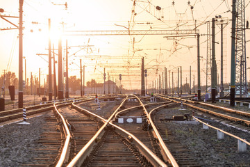 Foto auf Acrylglas Eisenbahnschienen An empty railway sorting station or terminal with lots of juncti