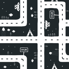 Childish scandinavian seamless pattern with road. Vector hand drawn illustration.
