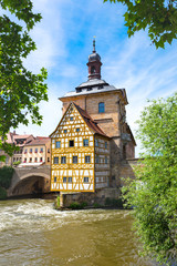 Bamberg Old Town in middle of Regnitz river on a sunny day