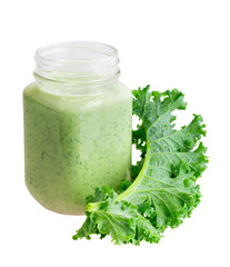 Green smoothie with kefir and kale isolated on white