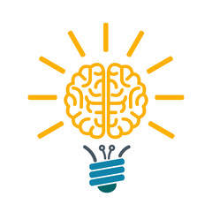 Bulb with human brain, brainstorming concept – vector