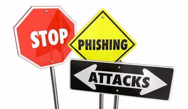 Stop Phishing Attacks Email Spam Warning Signs 3d Illustration