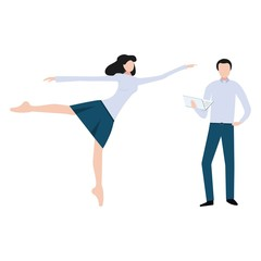 Vector illustration. Business team of two. Woman in formal wear in ballet pose dancing and pointing forward and man in formal wear standing and holding laptop. Success in business.