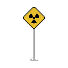 Warning nuclear radioactive Road sign. Vector illustration