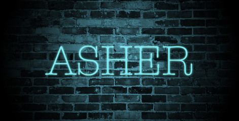 first name Asher in blue neon on brick wall