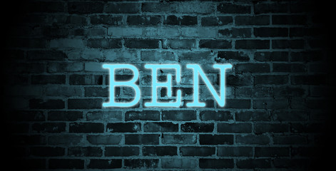 first name ben in blue neon on brick wall