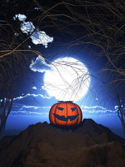 Fototapete - 3D pumpkin against a spooky Halloween landscape