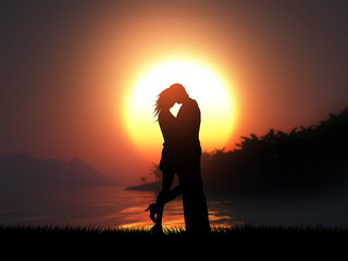 3D silhouette of a loving couple against a tropical sunset landscape