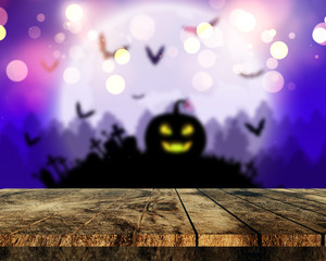 Fototapete - 3D wooden table looking out to a spooky Halloween landscape