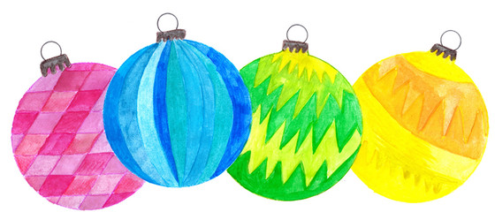 Handpainted watercolor Christmas baubles