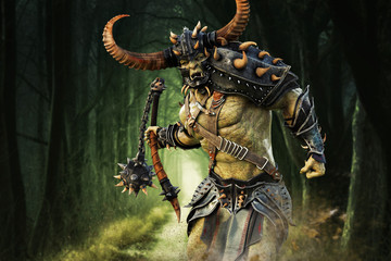 Savage Orc Brute running into battle wearing traditional armor and equipped with a flail weapon . Fantasy themed character. 3d Rendering