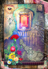 Poster Imagination Ancient and old fashioned background with haunted fairytale window and fantastic flowers
