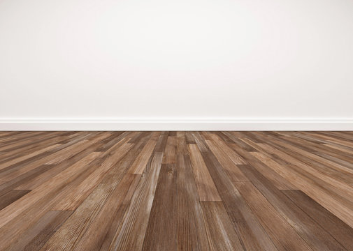 Wood floor and white wall, empty room for background