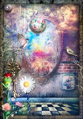 Fototapeten Phantasie Sfondo mistico e surreale con specchio magico e stregato