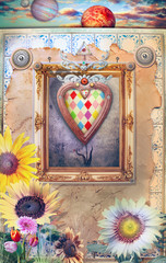 Poster Imagination Fairytales window with flowers and magic heart