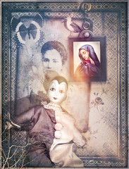 Poster Imagination Surreal interior with Pierrot mask. Solitude