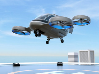 Metallic gray Passenger Drone Taxi takeoff from helipad on the roof of a skyscraper. 3D rendering image.