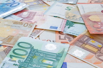 close up of European currency banknotes: euro